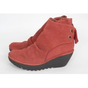 Fly London Yama Red Booties Wedge Ruched Lace